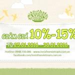 Khuyến Mãi: Giảm Giá 10%-15% – [25.01.2016 – 30.01.2016]