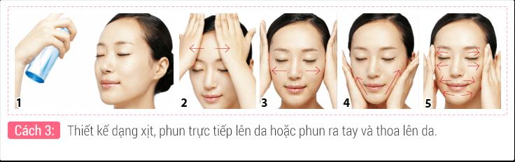 Thiết kế dạng xịt, phun trực tiếp lên da hoặc phun ra tay và thoa lên da.