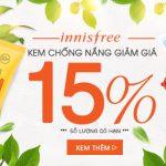 Khuyến mãi giảm 15% kem chống nắng Innisfree