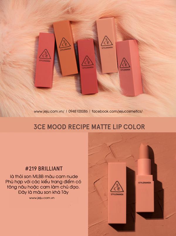[Review] Son 3CE 220 Mood Recipe Matte Lip Color Màu Cam Đất