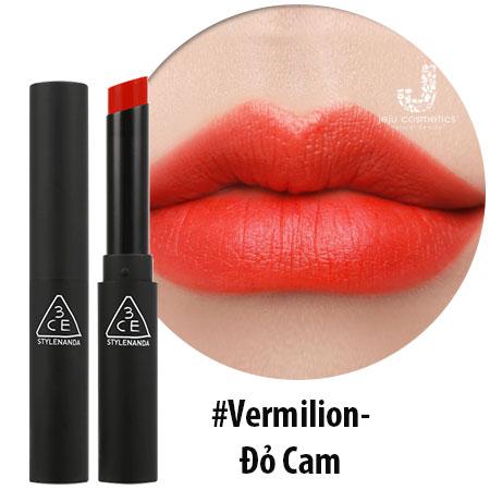 Son 3ce Slim Velvet Lip Color Vermilion đỏ Cam Tươi